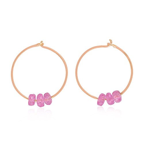 - 14K Rose Gold Natural Pink Sapphire Beads Hoop Earrings For Women (12 MM) (rose-gold, pink-sapphire)