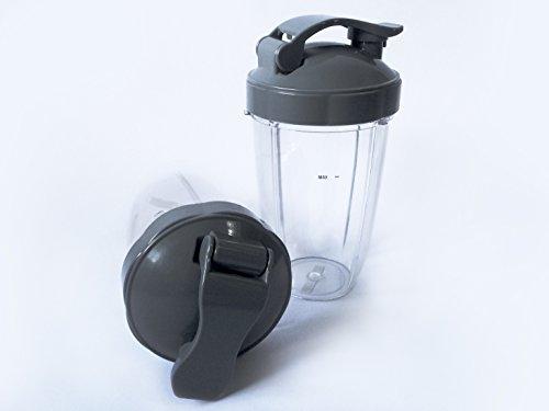 NutriBullet Replacement Cup Set 2 pcs Nutri-Bullet 24oz Cup + Flip Top Lid Replacement Set By Harrison & Cody