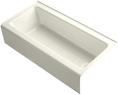 Kohler K-838-96 Bellwether 60-Inch by 30-Inch Cast Iron Bath with Integral Apron and Right-Hand Bath Drain, Biscuit