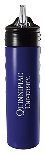 Quinnipiac University-24oz. Stainless Steel Grip Water Bottle with Straw-Blue