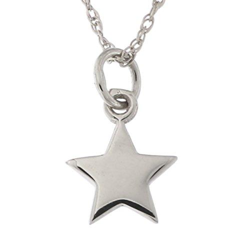 14k White Gold Tiny Star Pendant Necklace, 15