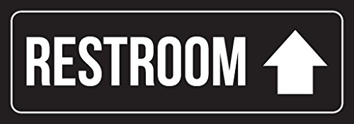 iCandy Combat Black Background with White Font Restroom Up Arrow Outdoor & Indoor Signage Plastic Door Sign - Single, 3x9 Inch