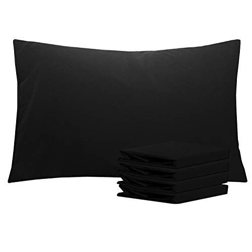 """NTBAY Queen Pillowcases Set of 4, 100% Brushed Microfiber, Soft and Cozy, Wrinkle, Fade, Stain Resistant with Envelope Closure, 20""""x 30"""", Black"""