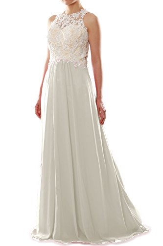 MACloth Women High Neck Lace Chiffon Long Prom Dress Formal Party Ball Gown Elfenbein JIX2DE