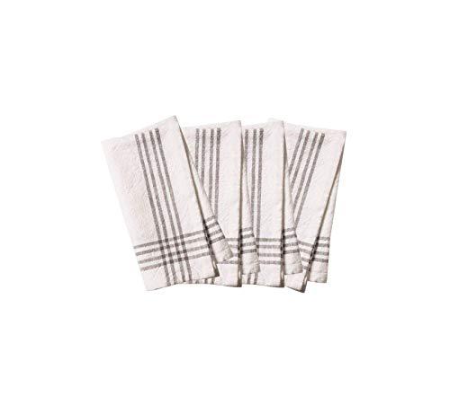 Beach Decor Premium Set of 4 Napkins, 20 x 20, White w/Pewter