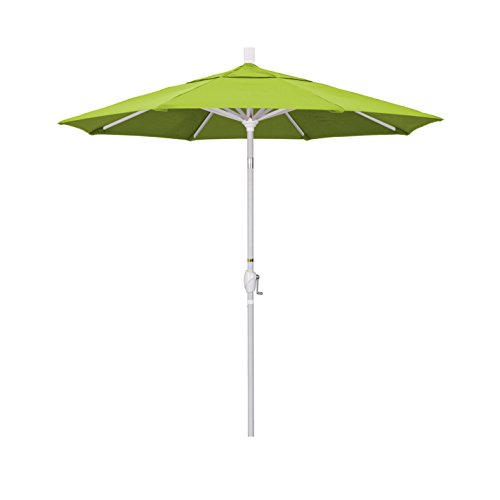 Macaw Sunbrella (California Umbrella 7.5' Round Aluminum Market Umbrella, Crank Lift, Push Button Tilt, White Pole, Sunbrella Macaw)