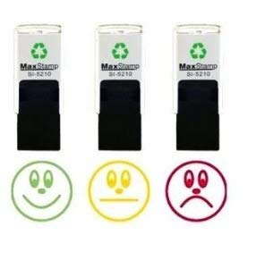 (3 x Individual self inking stamp set - 3 Faces (Happy, Sad, Indifferent), Traffic Light Assessment Ink Colours (Red, Orange, Green) 18mm)