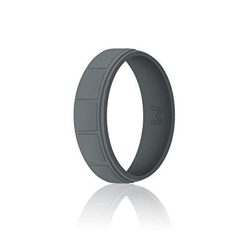 WIGERLON Mens Silicone Wedding Ring &Rubber Wedding Bands Width 8.7mm Color Dark Grey Size 10