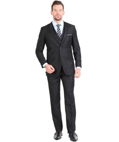 Tazio Mens Suit 2 Button 3 Piece Slim Fit Black 50R