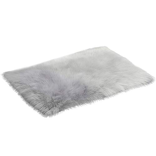 Vacally Shaggy Area Rugs Absorbent Carpet Soft Multipurpose Solid Color Rug Chair Cover Cushion Artificial Sheepskin Wool...
