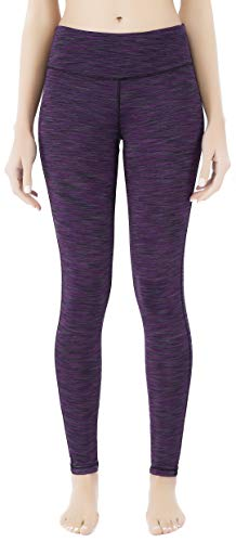 Queenie Ke Women Power Stretch Plus Size Yoga Leggings Pants Running Tights Size M Color Purple Space Dye ()