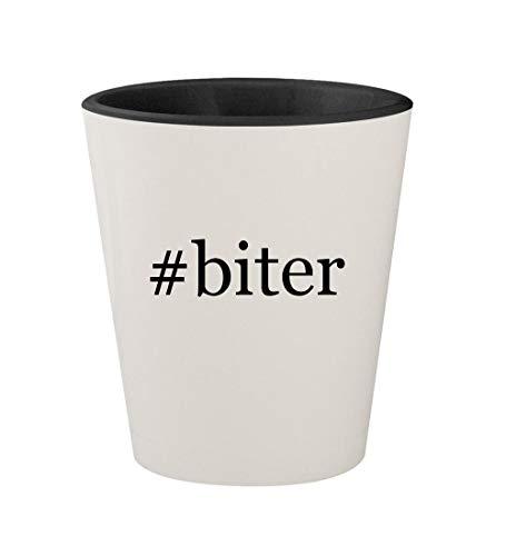 (#biter - Ceramic Hashtag White Outer & Black Inner 1.5oz Shot Glass)