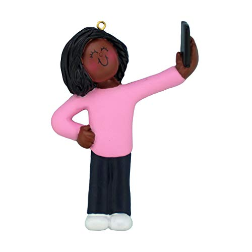 Personalized Selfie Girl Christmas Tree Ornament 2019 - African-American Teen Selfportrait Photo Smartphone Share Social Media Grand-Daughter New Addict Blogger - Free Customization (Female Black)