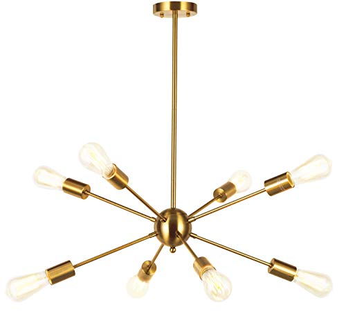 (VINLUZ Sputnik Chandelier Contemporary 8 Lights Brushed Brass Modern Pendant lighting Gold Mid Century Ceiling Light Fixture for Dining Room Bed Room Kitchen Room UL Listed)