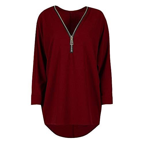 Anorak 1/4 Zip Pullover (1/4 Zip Sweatshirt, Sinohomie Casual Women Solid Zipper Long Sleeve Sweatshirt Pullover Blouse Jumper (M, Wine Red))