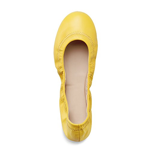 Leather Yellow Women's Bright Xielong Ladies Flat Chaste Casual Ballet Loafers Lambskin Shoes OCPqazPw