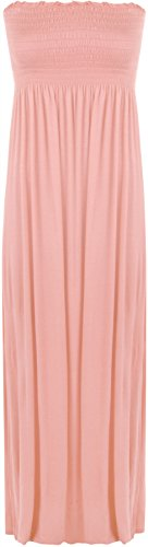 38 Rose Femme Tailles Robe bustier Maxi 36 plisse Plaine longue WearAll Robes wPqxvO0Pp