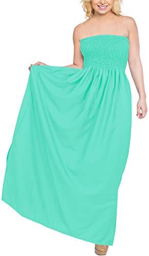 (LA LEELA Rayon Solid Swimwear Luau Boho Strap Dress Sea Green 3506 One Size)