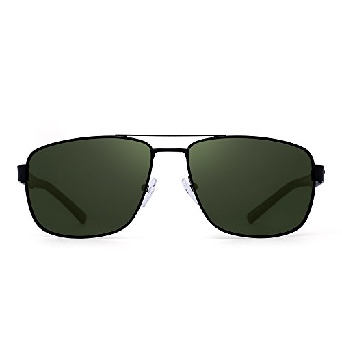 Polarized Driving Aviator Sunglasses Metal Frame Square Lenses Glasses Men Women (Black / Polarized Green)