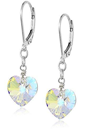 Swarovski Crystal Sterling Silver Dangle Earrings, Swarovski Crystal #6228 Heart-Shape Drop Earrings #SSE20 (Heart Earrings Leverback Childrens)