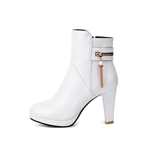Soft White Solid Round Material Heels High Allhqfashion top Closed Boots Women's Toe Low 7xWwUqB5nY