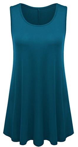 AM CLOTHES Womens Plus Size Solid Sleeveless Swing Flared Tunic Top Small 751-Teal Blue (Swing Short Coat)