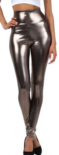 Leggings Crop Stretch (Sakkas Liquid2616 Shiny Liquid Metallic High Waist Stretch Leggings - Made in USA - Pewter - M)