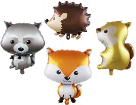 Woodland Creatures Animal Shaped Balloons- Woodland Party for Baby Shower or Birthday Party- Set of 4 Helium Quality Balloons- Baby Fox, Racoon, Hedgehog and Squirrel -