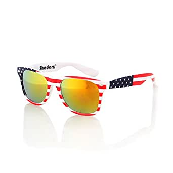 American USA Flag Retro 80's Sunglasses Classic America Patriotic Classic Sunglasses Eyewear by Shaderz Golden