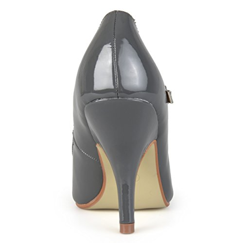 Journee Collection Womens Patent Round Toe Mary Jane Pumps Grey Patent GBnssvz