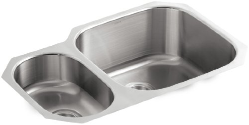 KOHLER K-3355-L-NA Undertone High/Low Undercounter Kitchen Sink, Stainless Steel