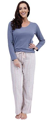 Impostato Donna A Pantaloni Lunga Top Misto con Cotone Grigio Scuro Manica righe Pigiama Z44XUgqn