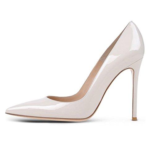 EDEFS Womens Pointed Toe Court Shoes Ladies Elegant High Heel Pumps Party Dress Shoes White YUIqM6BR