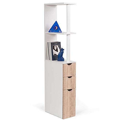 IDMarket Meuble WC /étag/ère bois 3 portes coloris h/être gain de place pour toilettes