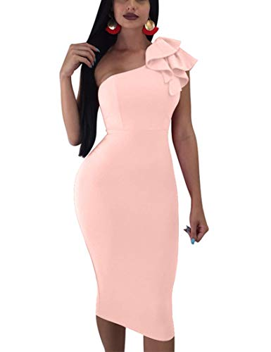 Mokoru Women's Sexy Ruffle One Shoulder Sleeveless Bodycon Party Club Midi Dress, X-Large, Nude Pink