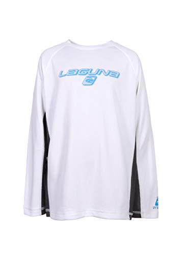 LAGUNA Boys Crewneck Long Sleeve Loose Fit Rashguard Swim Sun Tee Shirt, UPF 50+, White/Grey/Blue, 10/12