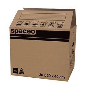 Spaceo Cajas DE Carton con Asas 40X30X30 CMS - Pack 10 Unidades