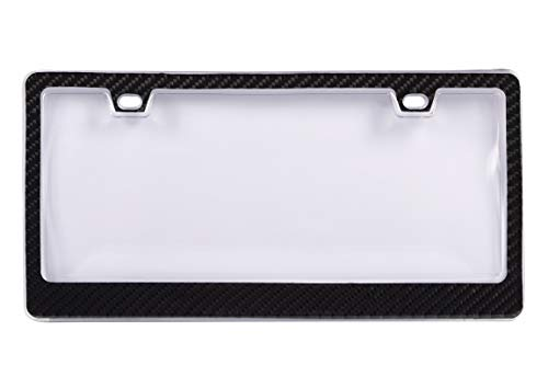 BLVD-LPF OBEY YOUR LUXURY  Genuine 100% Carbon Fiber License Plate Frame TAG Cover 3K with Clear Cover 2 in 1 Real Carbon Fiber and Unbreakable Cover Patent ()