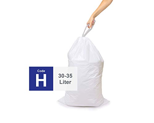 Compatible With Simplehuman Code H - 4 Refill Rolls of 50 (200 Count), Durable Custom Fit Plastic Trash Bags w/Drawstring - 30-35 Liter/ 8-9 Gallon Trash Cans - Heavy Duty Biodegradable Garbage Bags