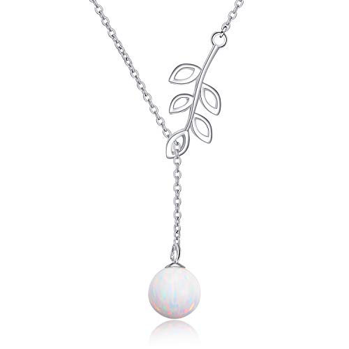 Y Lariat Necklace Sterling Silver Olive Leaf Pearl Opal Drop Pendant Necklace for Women Lady(Y Necklace) (opal necklace) ()