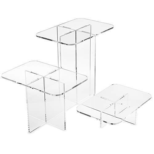 Clear Choice, Acrylic Interlooking Triple Riser,| Multipurpose Tabletop Risers for Displaying Personal or Business Decor, Cupcakes | Clear, Stable (Small)
