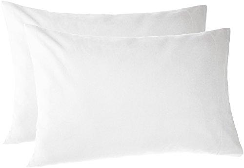 (Pinzon 170 Gram Flannel Cotton Pillowcases, Set of 2, Standard, White)