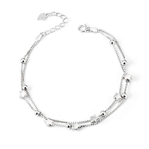 (LINGBG 925 Sterling Silver Bracelet Ball Beads Star Double Layered Box Chain Bracelets Foot Ankle Jewelry for Women Girls)
