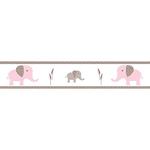 Sweet Jojo Designs Pink and Taupe Mod Elephant Children and Kids Modern Wall Border (Wall Children Border)