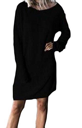 Vestito Nero Collo Delle donne Partito Metà Solido Maniche Lunghezza Paletta Coolred Dolman A wRPq7wa