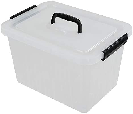 Ramddy 3 Gallon Clear Storage Box with Lid and Black Latches, 1 Piece.