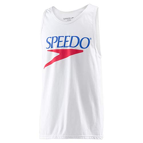 Speedo Vintage Collection Logo Tank Top, WHITE, Large