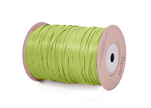 "Ispie Rayon Raffia Ribbon Crochet Yarn 1/4"" 100-Yard Lime (Green Series)"