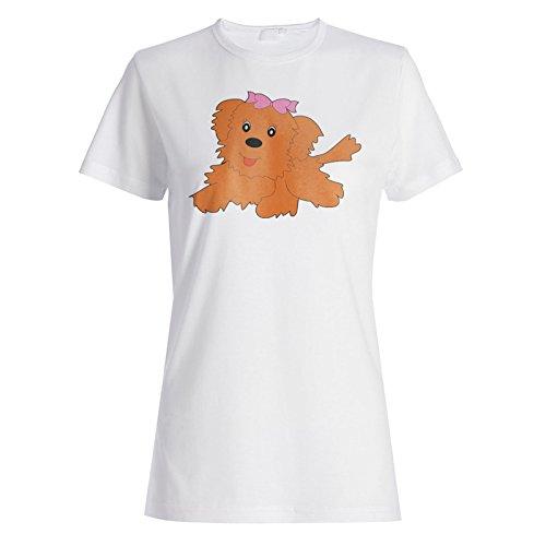 Neue Niedliche Lustige Lächeln Hund Mohnblume Damen T-shirt i334f