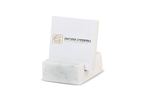 Miscellany Square Business Card Holder White Carrara Marble